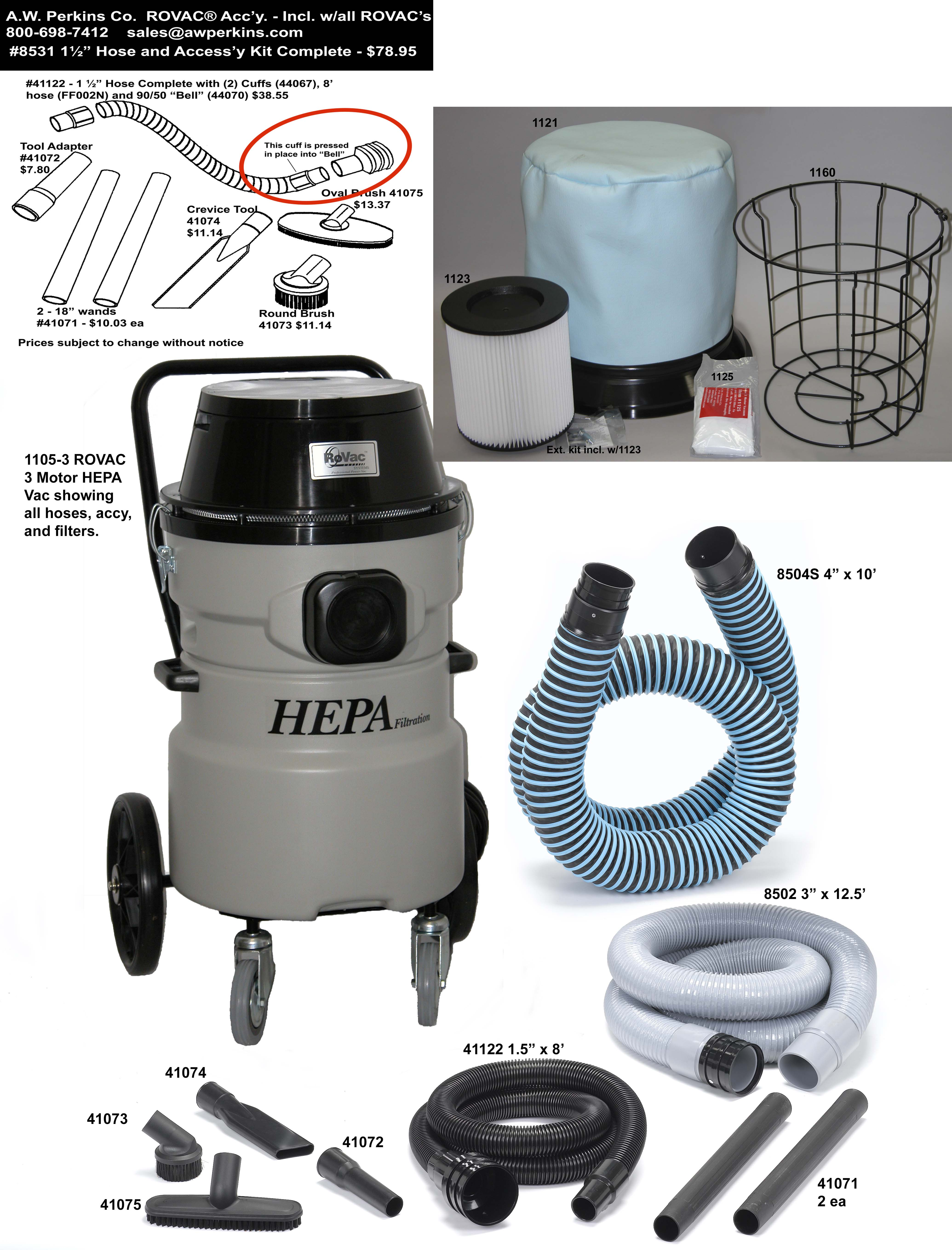 1105-3 ROVAC® Chimney Sweep's Vacuum - 3 Motor Fixed Trolley HEPA Vacuum