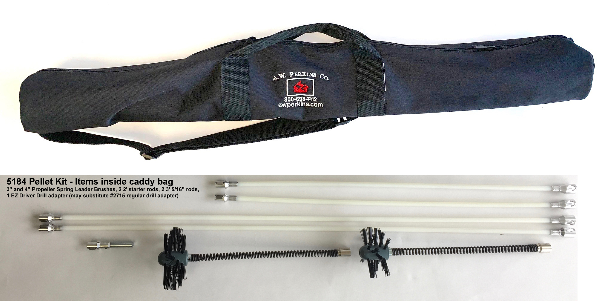 "5184 Pellet Vent Cleaning Kit w/3"" and 4"" brushes 11' of reach in nylon caddy"