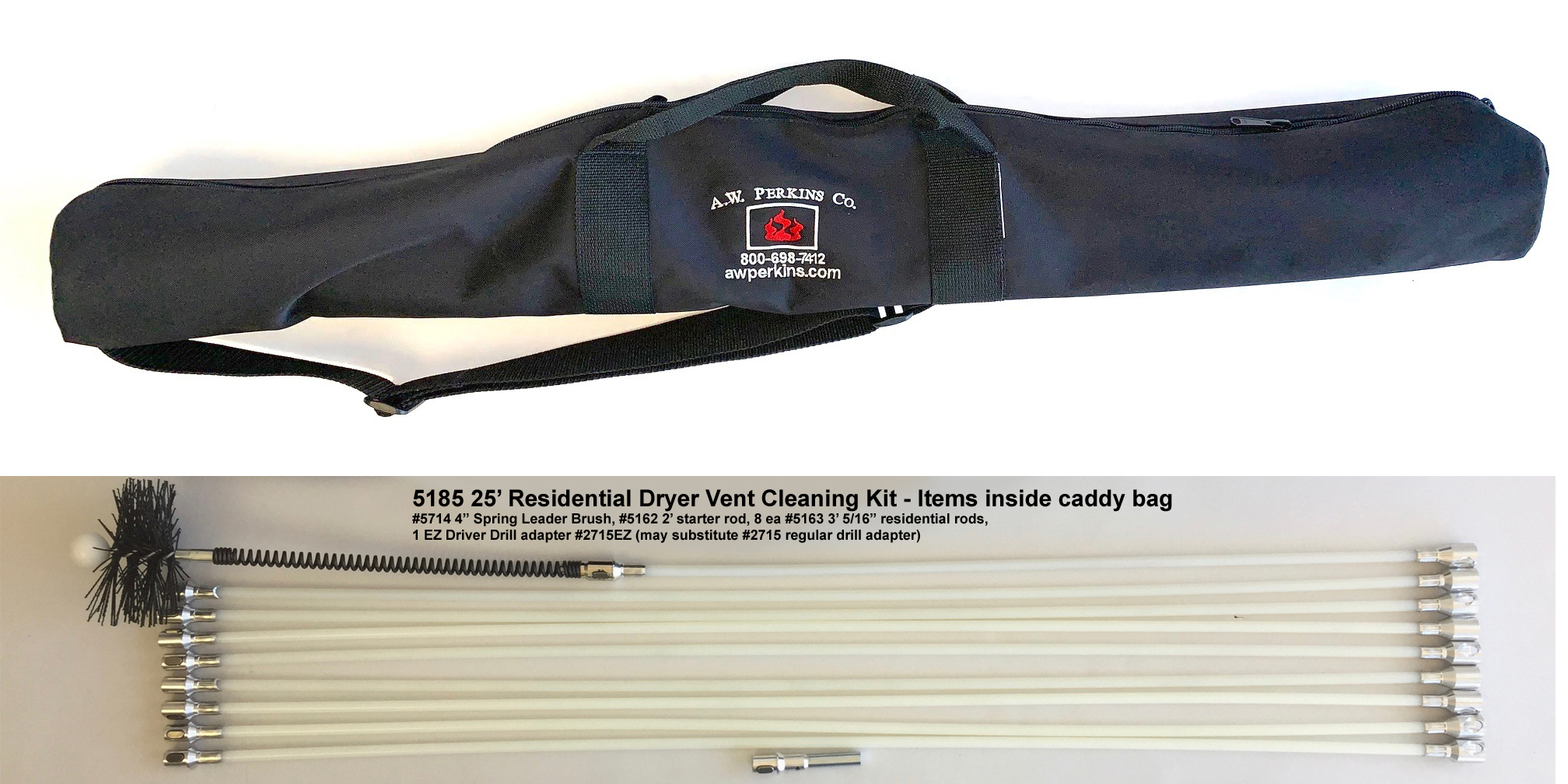 5185 25' Residential Rotary Brush Dryer Vent Cleaning Kit w/Nylon Caddy