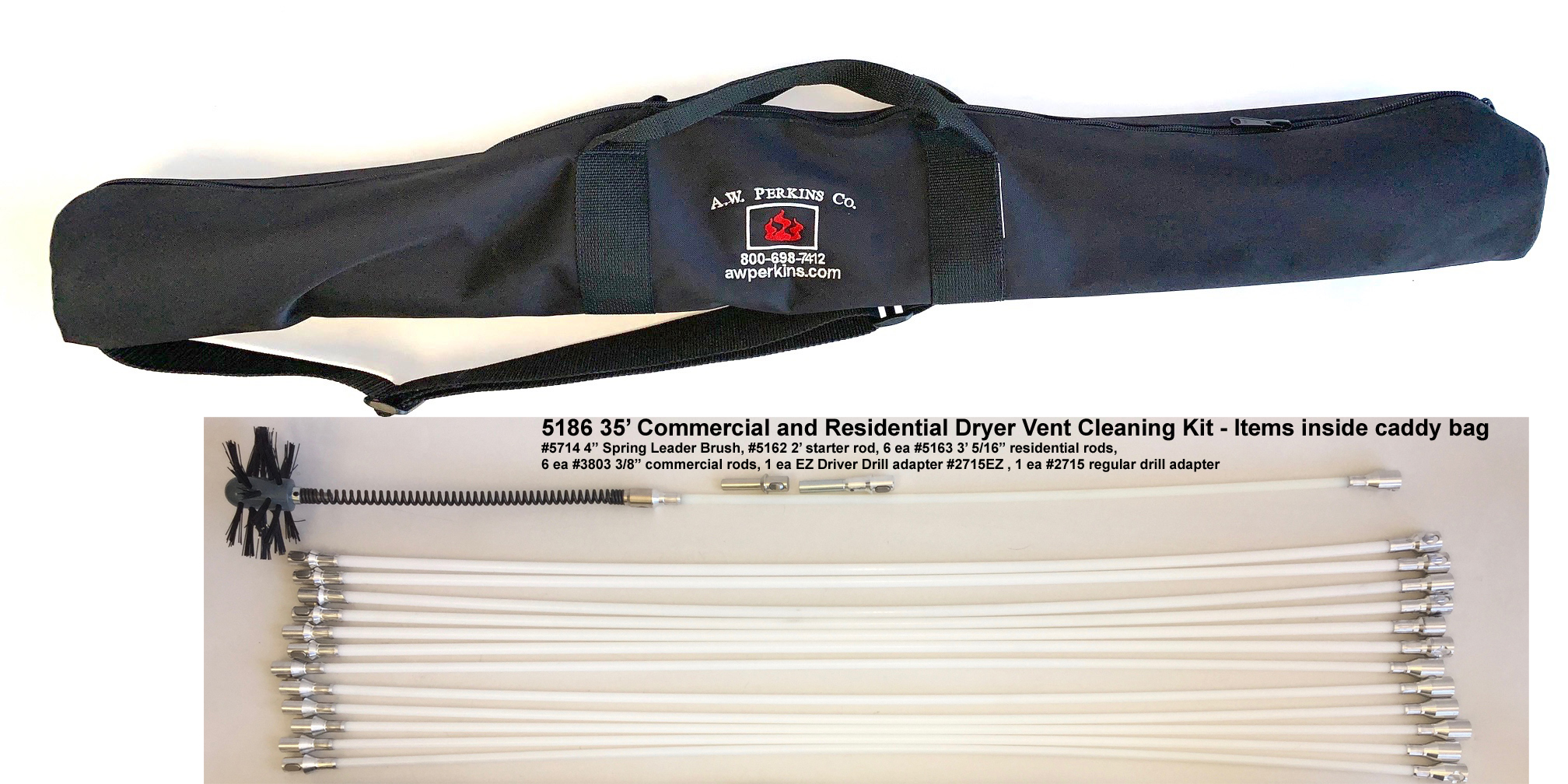 5186 35' Commercial and Residential Rotary Brush Dryer Vent Cleaning Kit w/Nylon Caddy