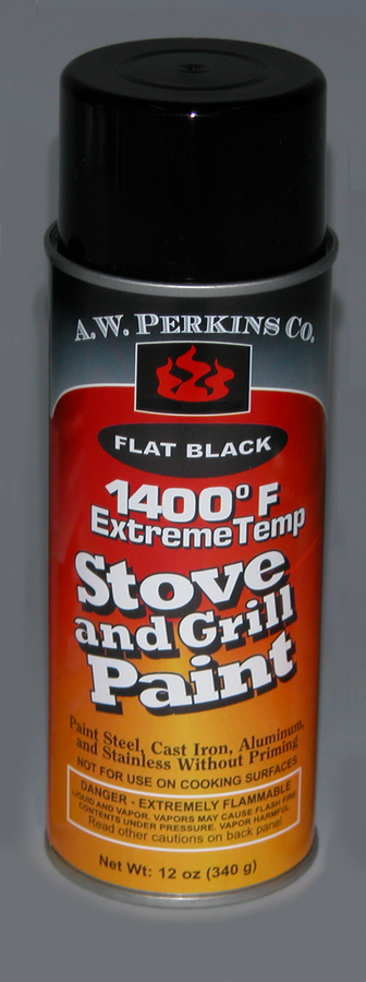 1400 degree fahrenheit Stove Paint-Spray Black, No HAPS, rust-inhibiting formula, low VOC- 16 0z