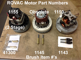 1143 Motor Brushes for Lamb/Ametek Motors (3 motor Rovac and pre-2008 1 Motor Rovac)